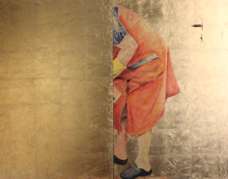 "web - Barbara Duisberg, 2016, ""Geringfügig Beschäftigte"", 110 cm x 140 cm, Acryl auf Schlagmetall"